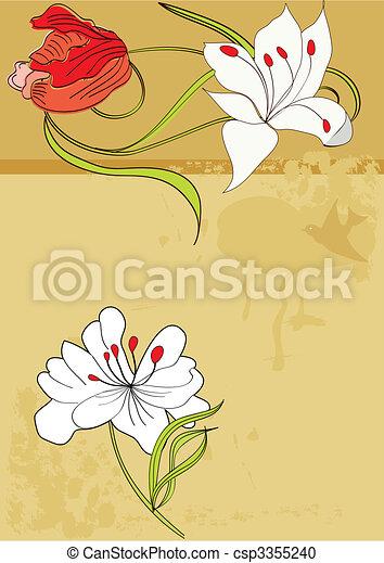 Un fondo restringido con flores - csp3355240