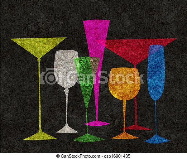 Bebidas estilizadas en un fondo negro - csp16901435