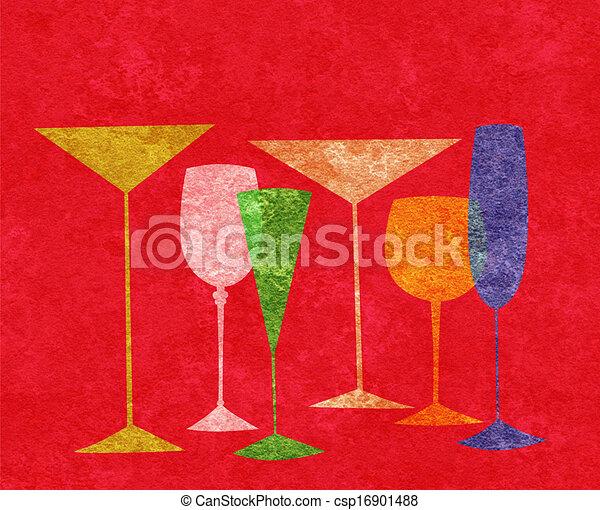 Bebidas estilizadas en un fondo rojo - csp16901488