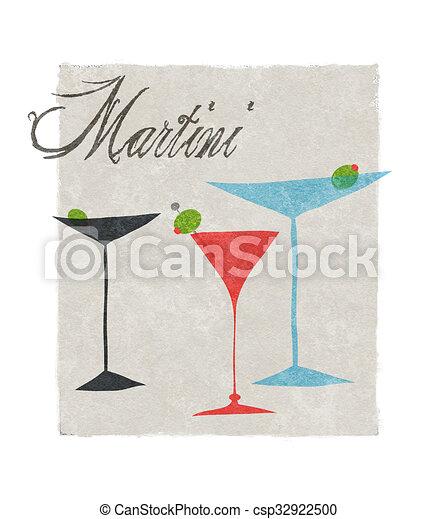 Martini estilizado ilustración retro con letras - csp32922500