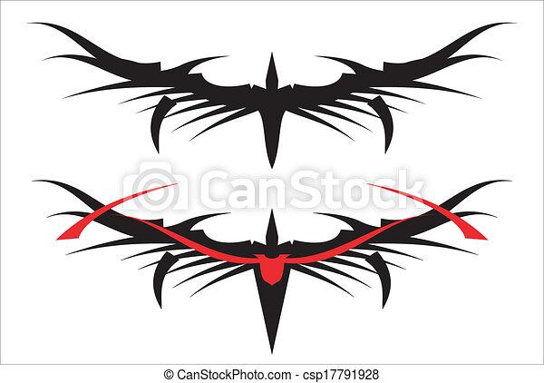 Cuerno negro estilizado largo - csp17791928