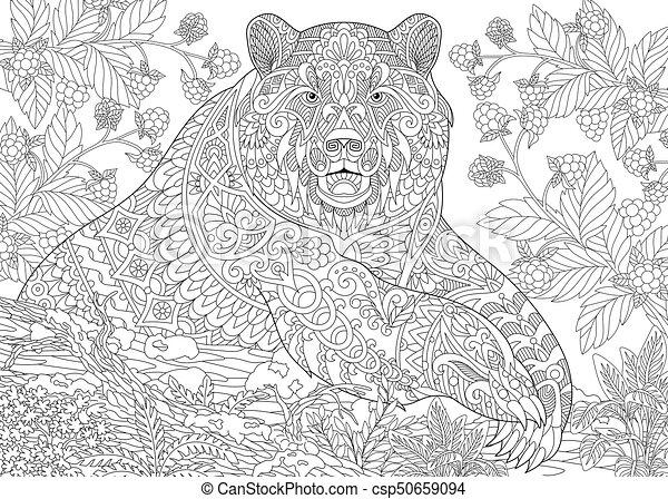 Estilizado, oso pardo, zentangle. Area., colorido, zarzamoras, oso ...