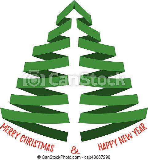 Vector estilizado árbol de Navidad con saludos. Aislado en blanco. - csp43087290