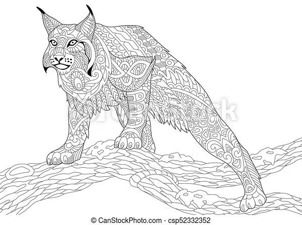 Un gato salvaje estilizado Zentangle - csp52332352