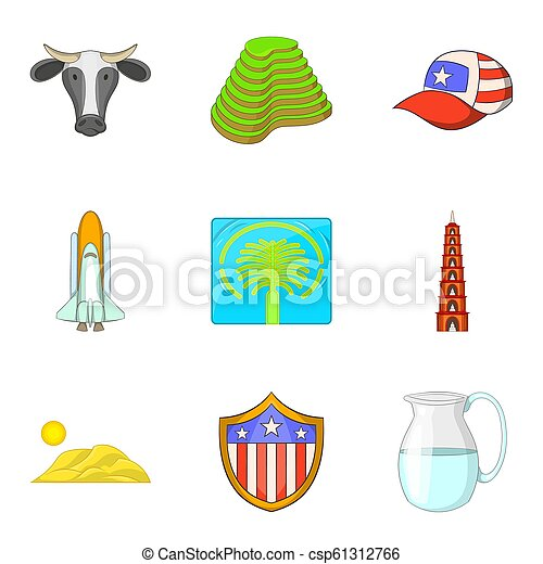 estilo, ícones, jogo, atração, mundo, caricatura - csp61312766