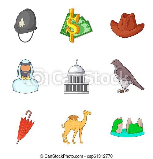 estilo, ícones, jogo, culto, mundo, caricatura - csp61312770