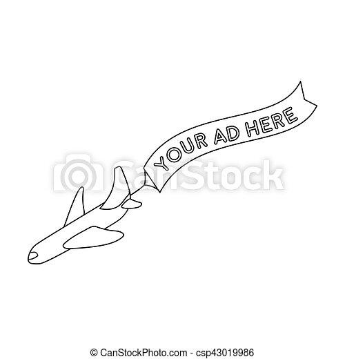 estilo, aéreo, illustration., ícone, símbolo, isolado, experiência., vetorial, anunciando, branca, estoque, esboço - csp43019986