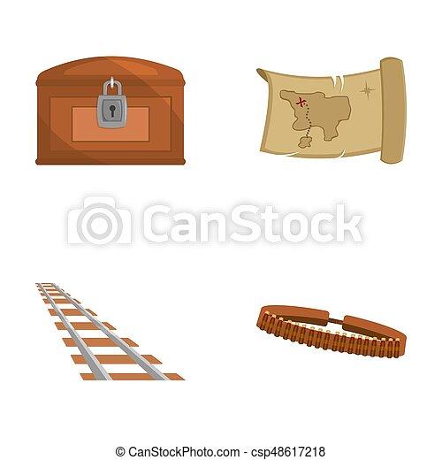 Mapa del tesoro, pecho, raíles, patrulla. Wild West puso iconos de colección en dibujos animados, Bitmap símbolo de la web de ilustración de acciones. - csp48617218