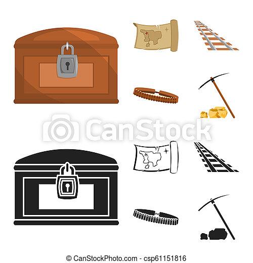 El mapa del tesoro, el pecho, los rieles, la patrulla. El salvaje oeste pone iconos de colección en dibujos animados, la web de ilustraciones de bitmap estilo negro. - csp61151816