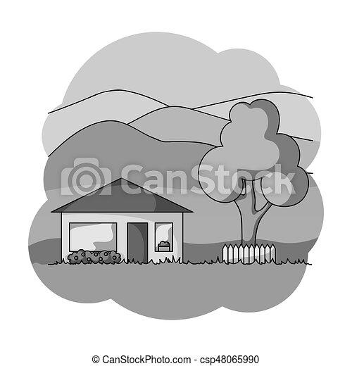 Casa de vacaciones. Realtor de icono de estilo monocromo vector web de ilustración de stock. - csp48065990
