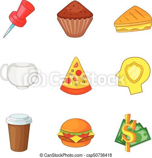 Juego de iconos de comida rápida, estilo de dibujos animados - csp50736418