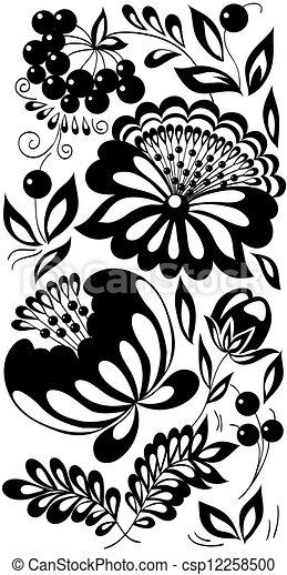 Estilo Antigas Pintado Preto E Branco Flores Berries Fundo Folhas