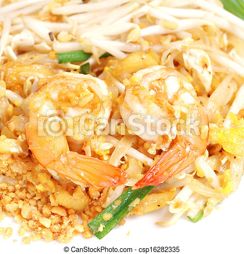 estilo, arroz, alimento, (pad, thai), bata frito, tailandés, tallarines - csp16282335