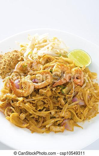 estilo, arroz, alimento, (pad, thai), bata frito, tailandés, tallarines - csp10549311