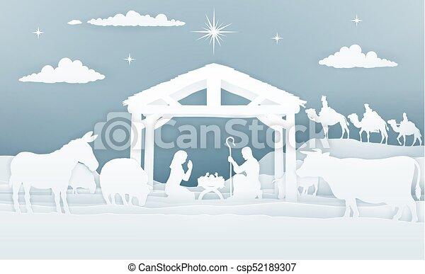 estilo, arte, escena, natividad, papel, navidad - csp52189307