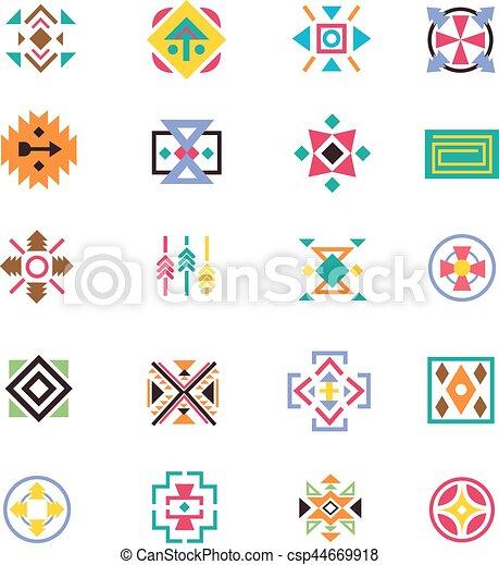 Estilo, arte, indio, azteca, patrones, norteamericano, vector, signs ...