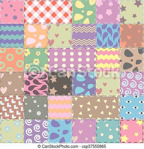 Estilo artesanato tecido patchwork vetorial fundo - Estilo patchwork ...