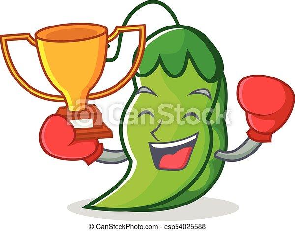 El ganador del boxeo es la mascota de los dibujos animados - csp54025588