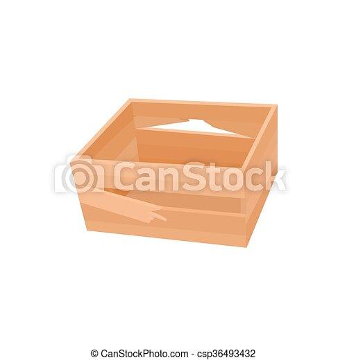 icono de caja roto, estilo de dibujos animados - csp36493432