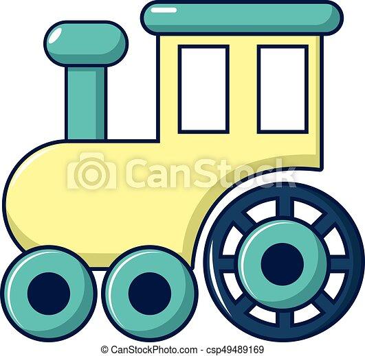 estilo, caricatura, trem, passeios, ícone, crianças - csp49489169