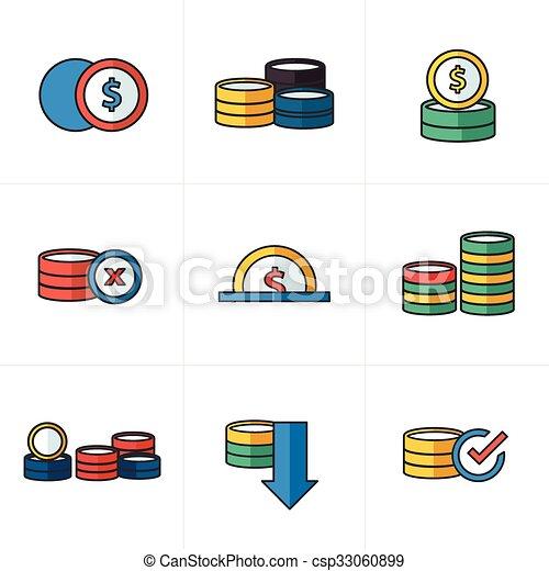 Los iconos de monedas marcan el estilo de dibujos animados - csp33060899