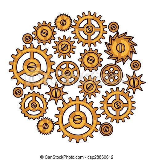 estilo, colagem, steampunk, metal, engrenagens, doodle - csp28860612