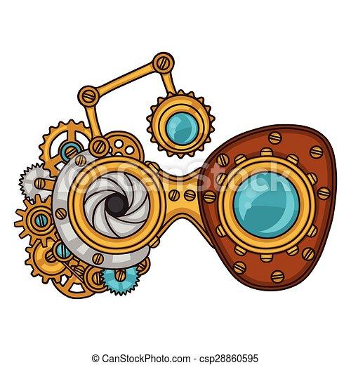 estilo, colagem, steampunk, metal, engrenagens, doodle, óculos - csp28860595