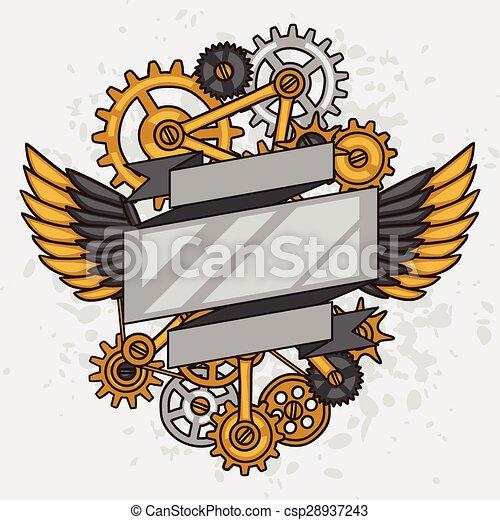 estilo, colagem, steampunk, metal, engrenagens, doodle - csp28937243