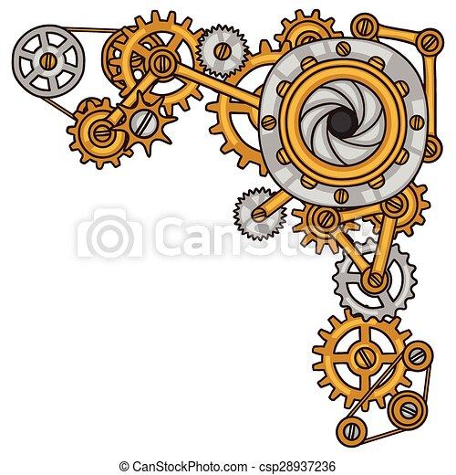 Collage Steampunk de engranajes de metal al estilo garabato - csp28937236