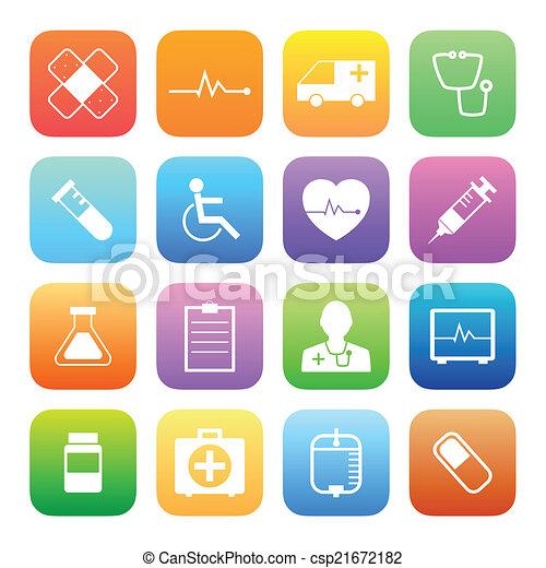 estilo, coloridos, ícones, médico, vetorial, set. - csp21672182