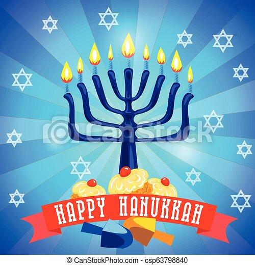 Feliz concepto de Hanukkah fondo, estilo de dibujos animados - csp63798840