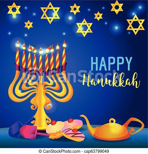 Feliz Hanukkah concebido el concepto de fondo, estilo de dibujos animados - csp63799049