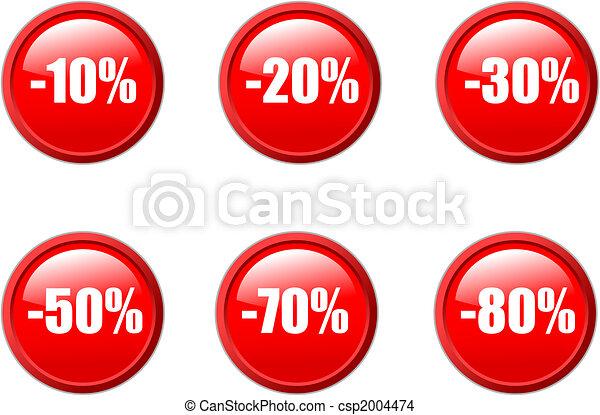 Set de vector aqua, botones de descuento en rojo. - csp2004474