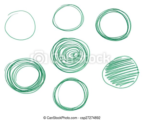 Círculos dibujados por Mano, elementos de diseño de vectores de logo. Marcador, pluma de fieltro, estilo de liniero - csp27274892