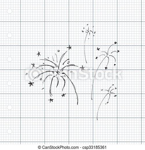 Una serie de fuegos artificiales estilo dibujos animados - csp33185361