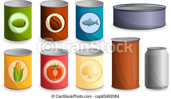 Tin puede poner icono, estilo de dibujos animados - csp63492084