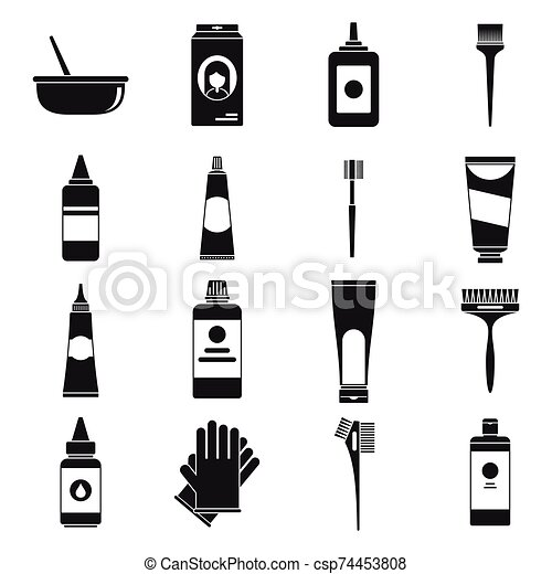 estilo, conjunto, pelo, iconos, cepillo, simple, tinte - csp74453808