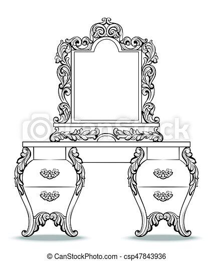 Estilo, consola, set., marco, espejo, fabuloso, francés, victoriano ...