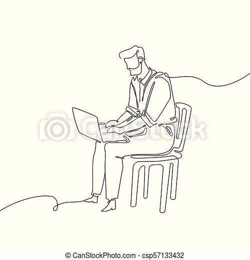 Hombre de negocios con un cuaderno, una línea de diseño continua ilustración de estilo - csp57133432