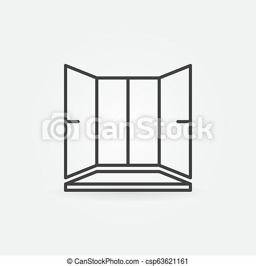 Ventana de plástico con icono vectorial de ventanas en el estilo de esbozo - csp63621161