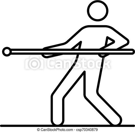 Un hombre tira de icono de guerra, estilo esbozo - csp70340879