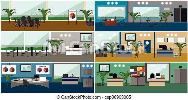 Interior de oficina. Ilustración de vectores en diseño plano. Cuartos modernos con muebles - csp36903005