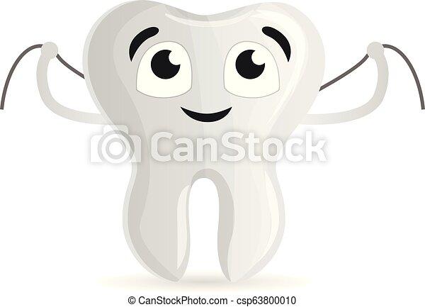 Dientes felices con icono de hilo dental, estilo de dibujos animados - csp63800010