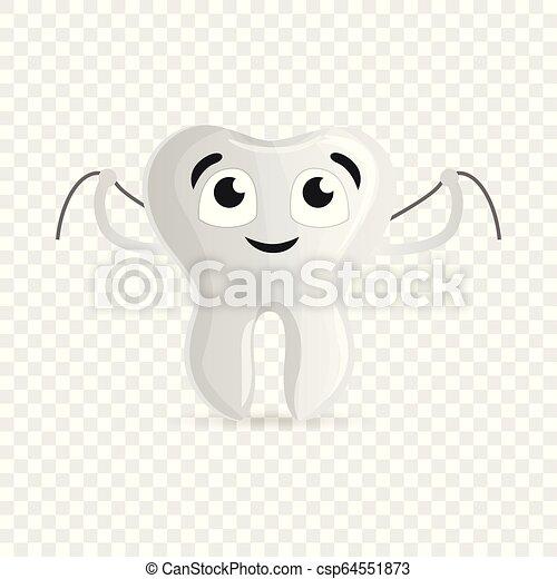 Dientes felices con icono de hilo dental, estilo de dibujos animados - csp64551873