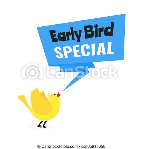 estilo, diseño, descuento, illustration., especial, venta, temprano, bandera, vector, pájaro, acontecimiento, plano, oferta - csp85918658