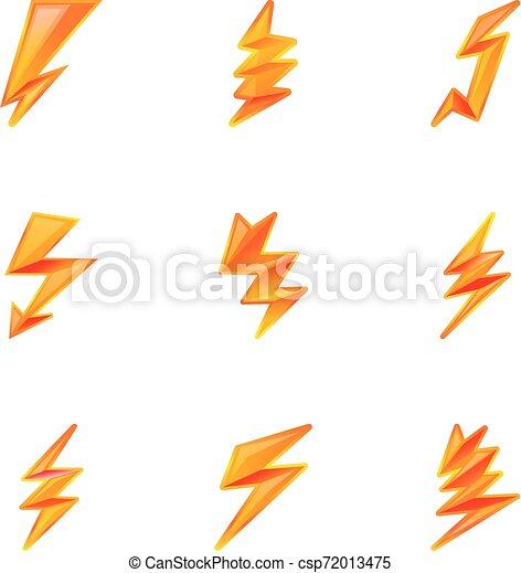 Icono de rayo eléctrico, estilo de dibujos animados - csp72013475