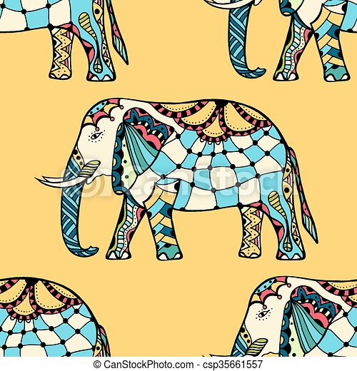 Estilo Elefantes Indios Modelado Estilo Elefantes Seamless