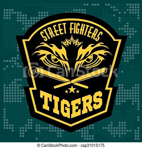 estilo, emblemas, emblema, logos., clube, -, etiquetas, luta, tiger, gráfico, monocromático, eye. - csp31015175