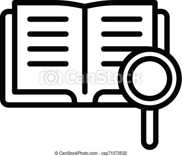 estilo, esboço, ampliar vidro, livro, ícone - csp71073532