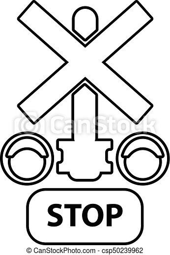 estilo, esboço, luz, parada, tráfego, estrada ferro, ícone - csp50239962